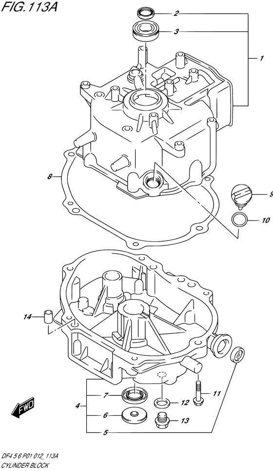 Блок цилиндра для мотора Suzuki DF4 / DF5 / DF6; Год: 2012 – 2012; (4-х тактный Мощность 4 л.с.)
