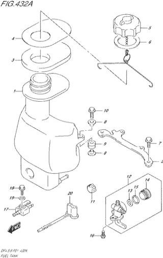 топливный бак Сузуки DF4-5-6 лс