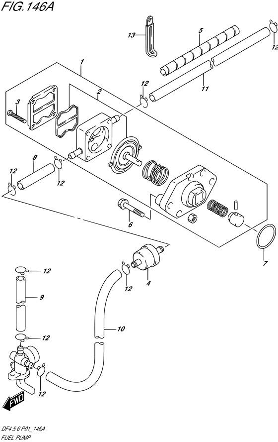 Топливный насос для Suzuki DF4; Год: 2002 – 2004; (4-х тактный Мощность 4 л.с.)