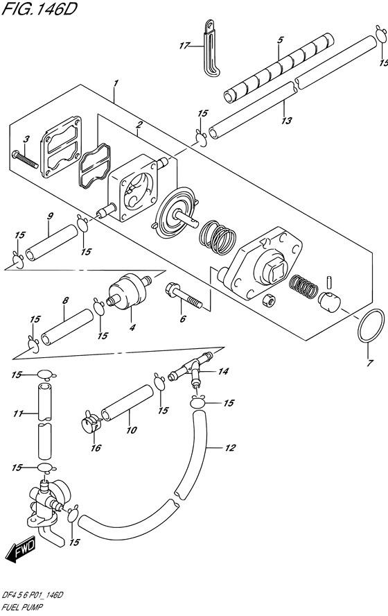 Топливный насос для Suzuki DF5 / DF6; Год: 2002 – 2004; (4-х тактный Мощность 5 / 6 л.с.)