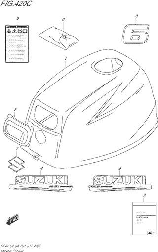 колпак двигателя Сузуки DF6 л.с
