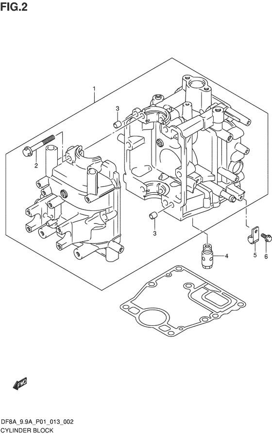 Блок цилиндров для Suzuki DF8A / DF9.9A, Год от: 2015 - до 2020; Двигатель от: 00801F-510001~ до 00801F-040001~ / от 00994F-510001~ до 00994F-040001~  (4-х тактный; Мощность 8 / 9.9 л.с.)