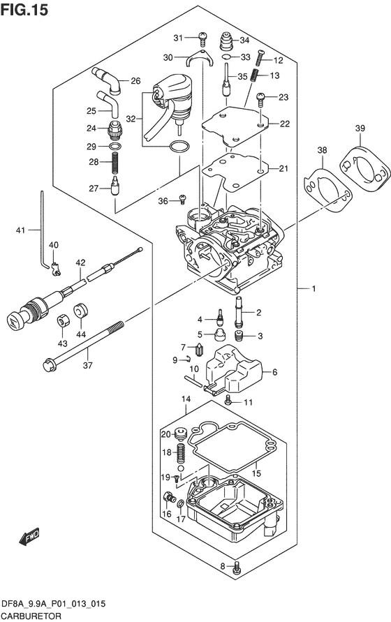 Карбюратор для Suzuki DF8A / DF9.9A, Год от: 2010 - до 2014; Двигатель от: 00801F-010001~ до 00801F-510001~ / от 00994F-010001~ до 00994F-510001~  (4-х тактный; Мощность 8 / 9.9 л.с.)