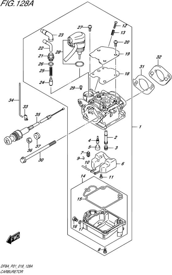 Карбюратор для Suzuki DF8A / DF9.9A, Год от: 2015 - до 2020; Двигатель от: 00801F-510001~ до 00801F-040001~ / от 00994F-510001~ до 00994F-040001~  (4-х тактный; Мощность 8 / 9.9 л.с.)
