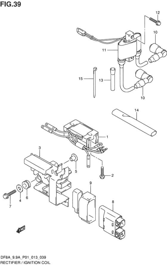 Система зажигания для Suzuki DF8A / DF9.9A, Год от: 2010 - до 2014; Двигатель от: 00801F-010001~ до 00801F-510001~ / от 00994F-010001~ до 00994F-510001~  (4-х тактный; Мощность 8 / 9.9 л.с.)