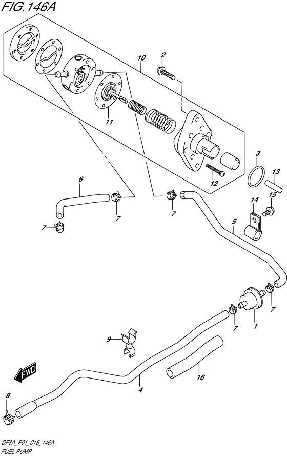 Топливный насос для Suzuki DF8A / DF9.9A, Год от: 2015 - до 2020; Двигатель от: 00801F-510001~ до 00801F-040001~ / от 00994F-510001~ до 00994F-040001~  (4-х тактный; Мощность 8 / 9.9 л.с.)