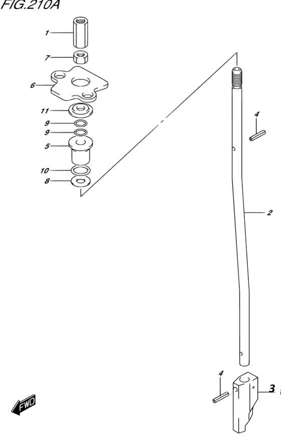 Тяга переключения для Suzuki DF8A / DF9.9A, Год от: 2015 - до 2020; Двигатель от: 00801F-510001~ до 00801F-040001~ / от 00994F-510001~ до 00994F-040001~  (4-х тактный; Мощность 8 / 9.9 л.с.)