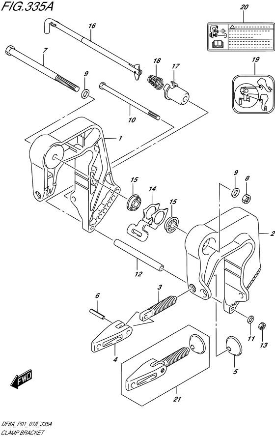 Зажимные струбцины для Suzuki DF8A / DF9.9A, Год от: 2015 - до 2020; Двигатель от: 00801F-510001~ до 00801F-040001~ / от 00994F-510001~ до 00994F-040001~  (4-х тактный; Мощность 8 / 9.9 л.с.)