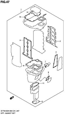 Каталог запчастей для лодочных моторов Suzuki DF70A / DF80A / DF90A – T / TH - (L/X)