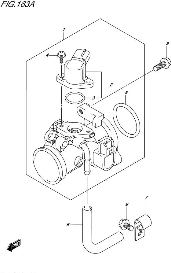 Дроссельная заслонка для Suzuki DF9.9B / BE / BR / BT, Год: от 2013 - до 2015; Двигатель от: 00995F-310001~ до 00995F-510001~ / (4-х тактный; Мощность 9.9)