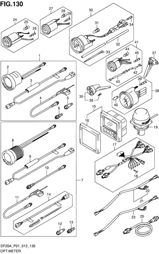 Опция приборов DF9.9B R/Т, Год: от 2013 - до 2015; Двигатель от: 00995F-310001~ до 00995F-510001~ / (4-х тактный; Мощность 9.9)