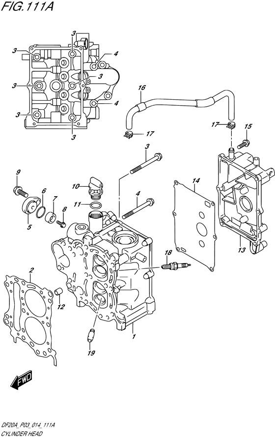 Головка цилиндров для Suzuki DF9.9B / BE / BR / BT, Год: от 2013 - до 2020; Двигатель от: 00995F-310001~ до 00995F-040001~ / (4-х тактный; Мощность 9.9)