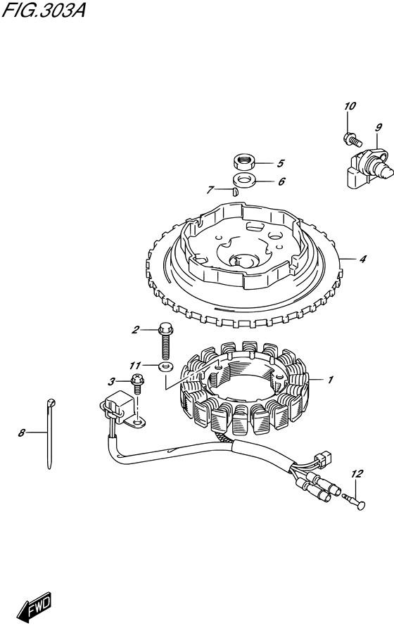 Маховик / катушки зарядки для Suzuki DF9.9B / BE / BR / BT , Год: от 2013 - до 2015; Двигатель от: 00995F-310001~ до 00995F-510001~ / (4-х тактный; Мощность 9.9)