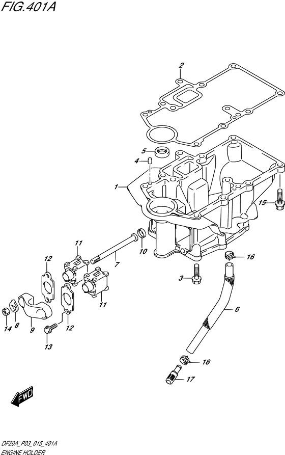 Опорная часть двигателя DF9.9B / BE / BR / BT, Год: от 2013 - до 2015; Двигатель от: 00995F-310001~ до 00995F-510001~ / (4-х тактный; Мощность 9.9)