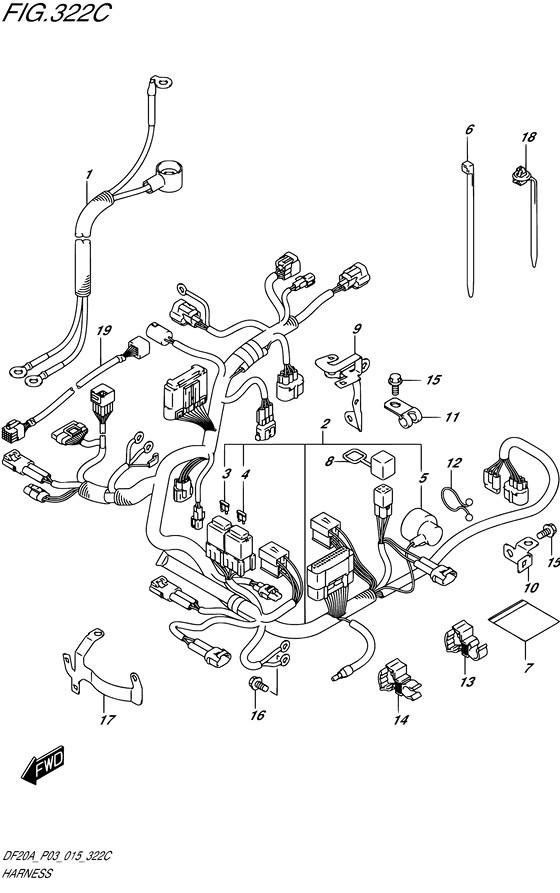 Проводка для Suzuki DF9.9B / BE / BR / BT , Год: от 2013 - до 2015; Двигатель от: 00995F-310001~ до 00995F-510001~ / (4-х тактный; Мощность 9.9)