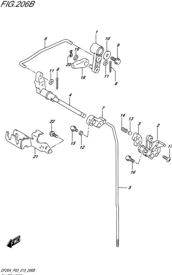 Тяга переключения передач для Suzuki DF9.9BR / BT , Год: от 2013 - до 2015; Двигатель от: 00995F-310001~ до 00995F-510001~ / (4-х тактный; Мощность 9.9)