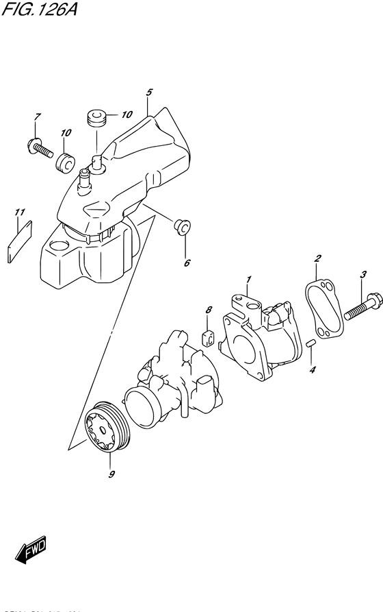 Впускной коллектор для Suzuki DF9.9B / BE / BR / BT, Год: от 2013 - до 2015; Двигатель от: 00995F-310001~ до 00995F-510001~ / (4-х тактный; Мощность 9.9)