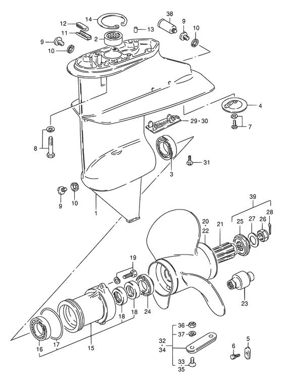 Каталог запчастей для лодочных моторов Suzuki DT9.9 / DT15 (S); Год: 2004; (Регион: Е40; P01)